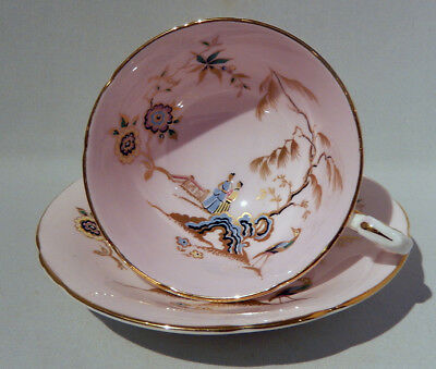 Vint PARAGON Hand Decorated Oriental PINK CHINOISERIE CUP & SAUCER c1960s MINT
