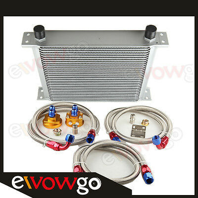 30 Row Aluminum Engine Oil Cooler + Relocation Kit + Ss Double Braided Lines