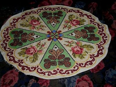 antique hand embroidered needlepoint panel or cushion cover front