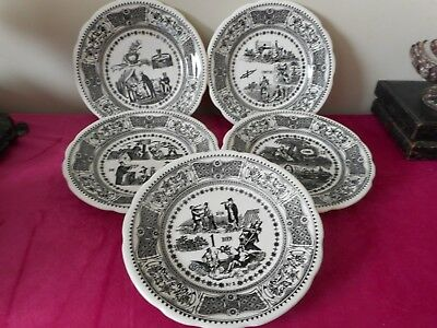 5 antique Gien rebus pattern plates  good for practicing your French