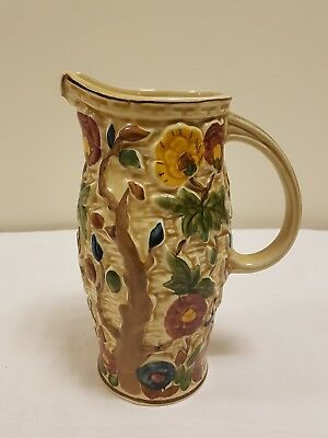 Tall 'indian Tree' Hand Painted Jug By H J Wood