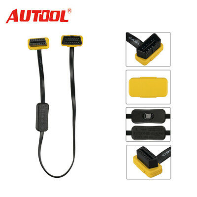 Autool ELM327 OBD2 16pin Extension 60cm Cable Connector Adapter With Switch DE