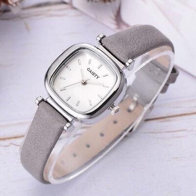 Women Classic Quartz Wrist Watch with PU Leather Strap Square Dial Casual Watch