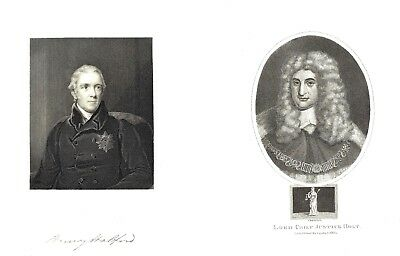 6 x English Gentlemen's Portraits - Engravings by Various Artists 1809-1845