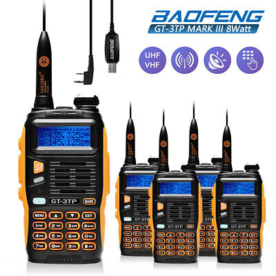 5Pcs Baofeng GT-3TP MarkIII 8W Dual Band V/UHF Transceiver Two way Radio + Cable