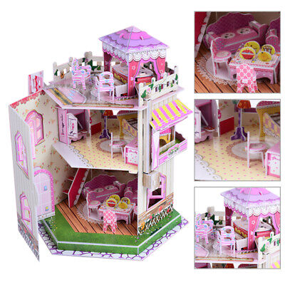 Kids Doll House Furniture Staircase Barbie Light Roof Love Dollhouse