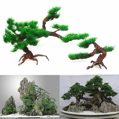 Fish Tank Aquarium Rock Bonsai Ornament Artificial Pine Tree Plant Decoration