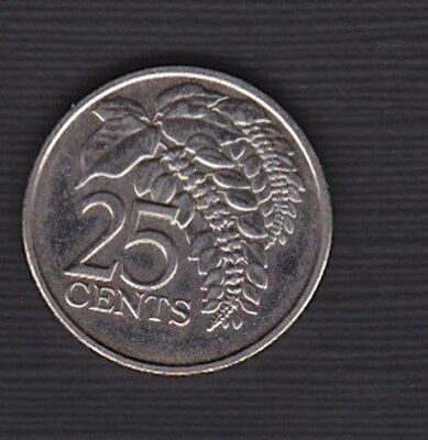 Trinidad and Tobago 2008:  - 25 cent UNC coin - Chaconia plant - Current Coinage