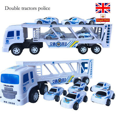 Small Police Cars Double Deck Trailer Tractor Big Truck Nertial Toy For Kids