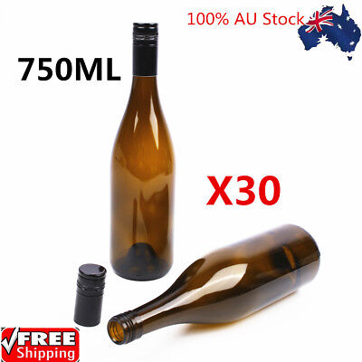 30X750ml Amber Glass Bottles Wine Bottles for Crafting Parties Wedding Decor AU