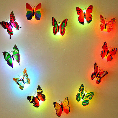 Glowing LED Butterfly Wall Night Light Stickers Fridge Mural DIY Home Wall Decor