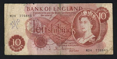 GREAT BRITAIN P-373b. (1962-66) 10 Shillings. Hollom - REPLACEMENT Note - M24