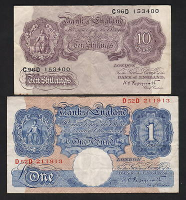 GREAT BRITAIN P-366, 367a. (1940-48) 10/- (mauve) & 1 Pound (blue) Peppiatt  aVF