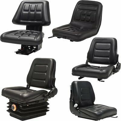 Tractor Seat with Suspension Universal Forklift Arm Rest Replace PVC Chair Black
