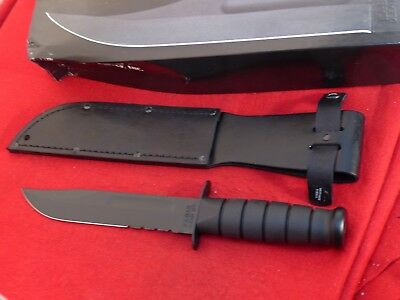 KA-BAR USA black serrated 1212 mint in box fixed blade fighting knife & sheath