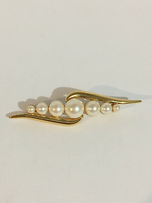 Signed Monet Gold Tone Brooch Vintage  Faux Pearl