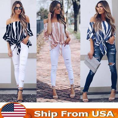 Women Off Shoulder Striped Loose Blouse T-shirt  Bell Sleeve Ladies Fashion Tops