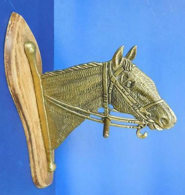 Unusual large Brass Horse Head wall bracket Hook for Coats Hats etc 1900s