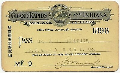 1898 GRAND RAPIDS and INDIANA RAILWAY COMPANY PASS WITH LOW NUMBER