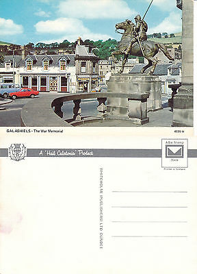 1970's THE WAR MEMORIAL GALASHIELS BERWICKSHIRE SCOTLAND UNUSED COLOUR POSTCARD