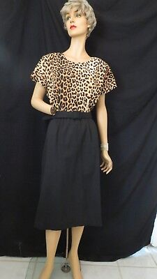 True Vintage New Wave 1980's Does 1940's Belted Sheath Dress Leopard Print