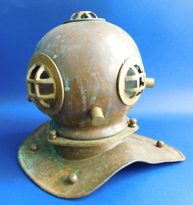 Vintage Desktop Brass & Copper Replica Diving Bell US NAVY Helmet 1900s