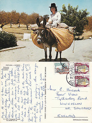 1976 Girl On A Donkey In Costume Algarve Portugal Colour Postcard