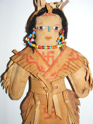 NAVAJO Indian Handmade DOLL Folk Art Suede Clothes WHIRLING LOGS 1800s Bead work