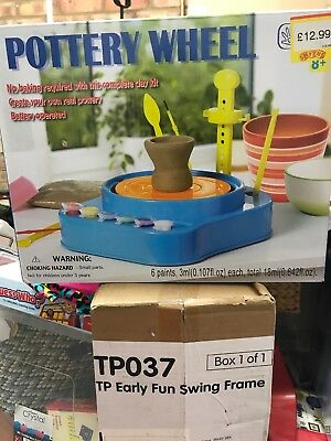 Kids Pottery Wheel Clay Crafting No Baking Needed w/ Tools, Brushes & Paints NEW