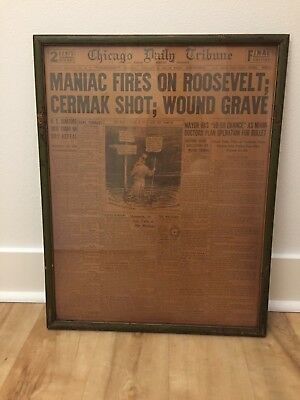 Vintage Chicago Daily Tribune - framed front page dated February 16, 1933