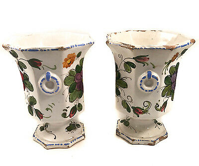 """Pair Of Vintage Nico Italy Hand Painted Vases 748 Beautiful Patina 8-1/2""""t X 7""""d"""
