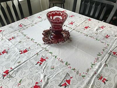 Vintage Christmas Tablecloth with Santa and his Musical Instraments!