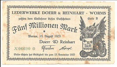 Worms,Lederwerke Doerr&Reinhart,5 Millionen Mark 1923