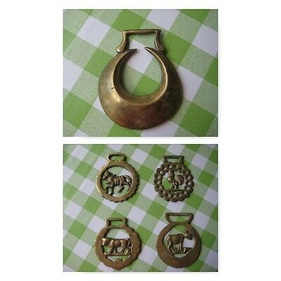Antique Horse Brasses 1 x Double Ended Crescent Moon and 4 x Farm Animal Designs