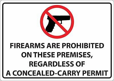 Zing Firearms Prohibited Concealed Carry Sign, 10x14, 2826