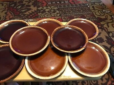"Set of 8 Brown Drip McCoy Salad or Bread Plate 7.5"" USA"