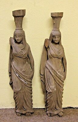 """Pair Of Beautiful 20"""" Genuine Hand Carved Wooden Gothic Fancy Arab Lady Carving"""