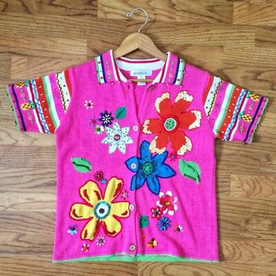 Vintage Pink Sequin Flower + Pineapple Beaded Top by Arriviste MEDIUM