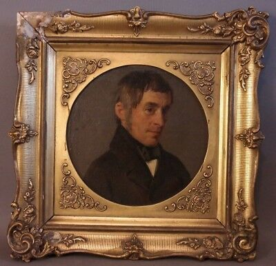 19thC Antique AMERICAN EMPIRE Old DISTINGUISHED GENTLEMAN Oil PORTRAIT PAINTING