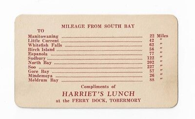 The Ferry Dock Tobermory Ontario Complimentary Mileage Chart Harriet's Lunch At