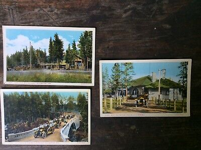 Yellowstone Lot Of 3 Vintage Car Scenes