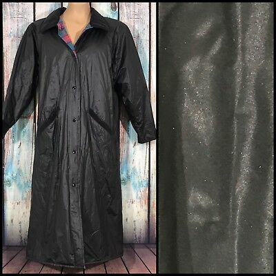 Vtg MISTY HARBOR ANY WEATHER SLICKER Black RAIN COAT Size M WARM PLAID LINING
