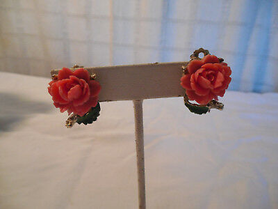 Vintage carved pink plastic rose clip on earrings