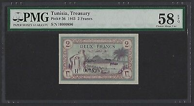 Tunisia 1943 P-56 PMG Choice About UNC 58 EPQ 2 Francs