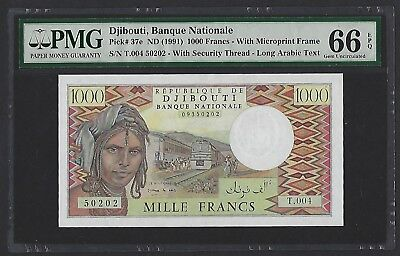 Djibouti ND(1991) P-37e PMG Gem UNC 66 EPQ 1000 Francs With Microprint Frame
