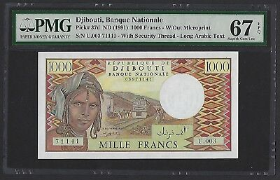 Djibouti ND(1991) P-37d PMG Superb Gem UNC 67 EPQ 1000 Francs W/Out Microprint