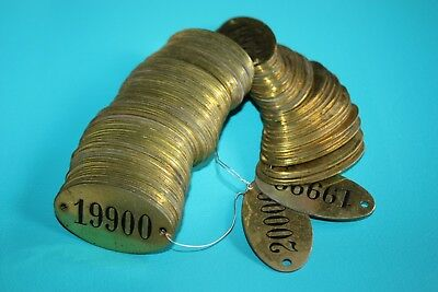 Vintage Brass Tags - Locker Sequential Lot of 100 Steampunk Repurpose Authentic