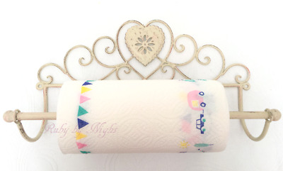 Shabby Chic Kitchen Roll Holder French Vintage Hand Towel Antique Cream Heart