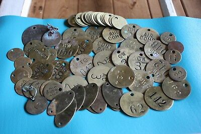 Vintage Brass Tags - Lot of 82 Misc. Tags Steampunk Repurpose Authentic