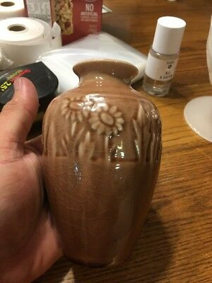 Antique rookwood pottery 2591 vase, brown, signed, 5.25 inches tall